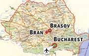 Romania Map | Bucharest - Brasov - Bran Castle